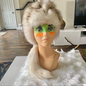 Luxury Vintage • Genuine Blue Fox Fur Hat